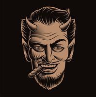 Vetorial, ilustração, de, um, diabo, rosto, fumar, um, charuto