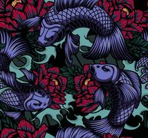 Seamless pattern with koi carp