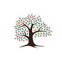 Projeto colorido da ilustração do molde do logotipo da árvore de carvalho das folhas. Vetor eps 10