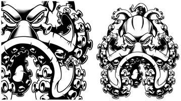 Vetorial, ilustração, de, um, polvo, preto branco