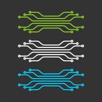 Linea del circuito elettronico, progettazione dell'illustrazione del modello di logo di tecnologia. Vettore ENV 10.