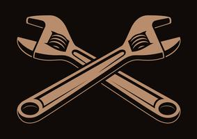 Vector illustration of crossed wrenches,
