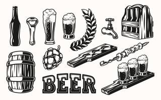 Vector set of beer elements