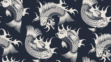 Seamless pattern with koi carp vector