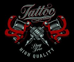 Vector illustration of tattoo machines