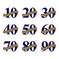 Définir la décoration emblème années anniversaire vecteur modèle Illustration Design. Vecteur EPS 10.