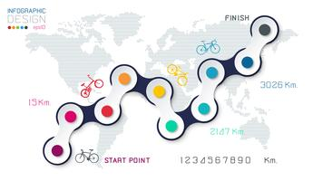 Bicycle way with business icon infographics on world map background.