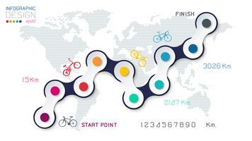 Manera de la bicicleta con infographics del icono del negocio en fondo del mapa del mundo.