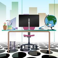 Modern office interior workplace empty chair desk in flat vector illustration design.