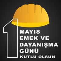 1 may labour day postervector. Turkish holiday on May Day is a day of work and solidarity. Translation from Turkish: a day of work and solidarity.