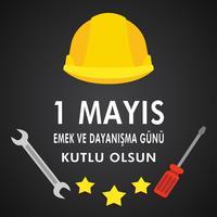 1 maj arbetsdagen postvektor. Turkisk helgdag på majdagen är en dag med arbete och solidaritet. Översättning från turkiska: en arbetsdag och solidaritet.