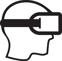 uomo che indossa il mondo astratto vr auricolare realtà virtuale con linee illustrazione vettoriale.