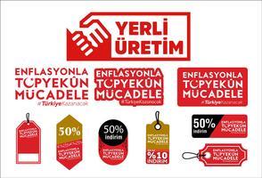 Yerli uretim. Enflasyonla topyekün mücadele. Traducción: Producción nacional de Turquía. Vector logo - Vector de