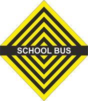 Autobús escolar amarillo flecha negra.