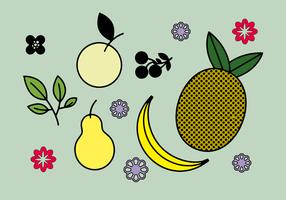 Vector de frutas y flores gratis