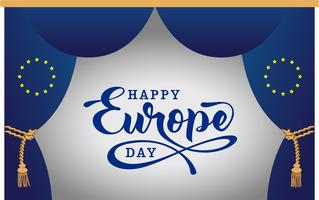 Día de Europa. Día festivo anual en mayo. Es el nombre de dos días anuales de observancia: el 5 de mayo por el Consejo de Europa y el 9 de mayo por la Unión Europea. Cartel, tarjeta, banner y fondo. Foto de archivo - Vektör