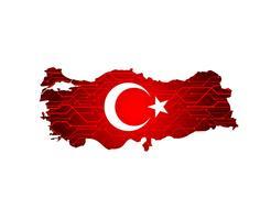 Mappa della Turchia con bandiera. bandiera mappa Turchia paese su sfondo digitale. Vettore.