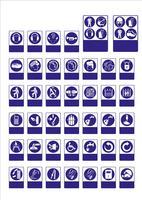 conjunto de señales obligatorias, señales de peligro, señales prohibidas, señales de seguridad y salud en el trabajo, carteles de advertencia, señales de emergencia contra incendios. Para adhesivos, carteles y otros materiales de impresión. fácil de modif
