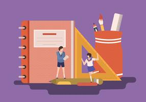 Back to School Concept Illustration Flat Vector