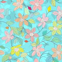Floral element on blue seamless background.