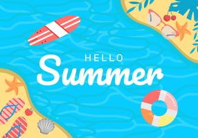 Summer Beach Background Vector Illustration