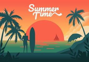 Sunset on Summer Beach background Vector Illustration