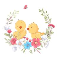 Postcard poster cute little chickens in a wreath of flowers. Hand drawing. Vector