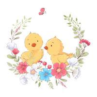 Manifesto della cartolina simpatici polli in una corona di fiori. Disegno a mano Vettore