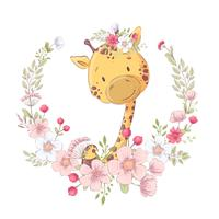 Postcard poster cute little giraffe in a wreath of flowers. Hand drawing. Vector