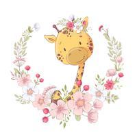 Manifesto della cartolina carino piccola giraffa in una corona di fiori. Disegno a mano Vettore