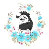 Postcard poster cute little zebra in a wreath of flowers. Hand drawing. Vector