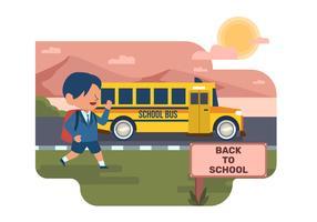Student Waiting-Schulbus-Illustration