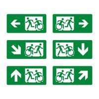 Projeto da ilustração do Signage do vetor da evacuação da emergência. Vetor eps 10
