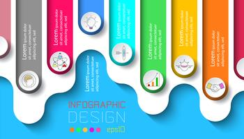 Sete rótulos com infográficos de ícone de negócios.