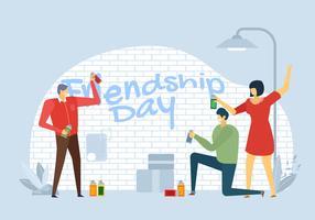 Personas celebran día de la amistad Vector carácter