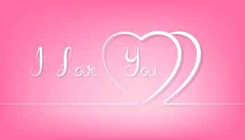 Abstract couple line heart on pink background.
