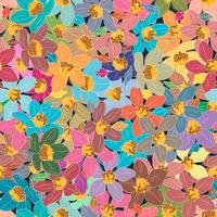Colorful flower element on seamless background.