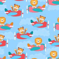 Seamless pattern cute tiger and leon on the plane in cartoon style. Hand drawing.