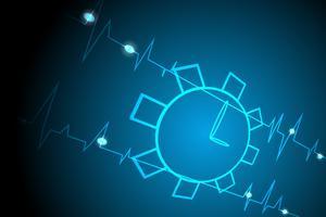 Reloj luz línea vida fondo azul