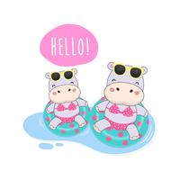 Hola verano lindo hipopótamo eran bikini y nadar anillo de dibujos animados.