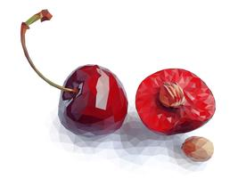 Vector art of red polygon cherry