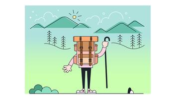 Vetor de viagem de mochila
