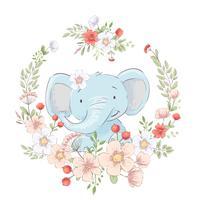 Poster cartolina carino piccolo elefante in una corona di fiori. Disegno a mano Vettore