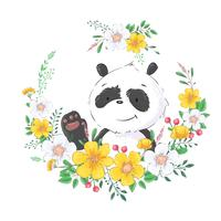 Postcard poster cute little panda in a wreath of flowers. Hand drawing. Vector