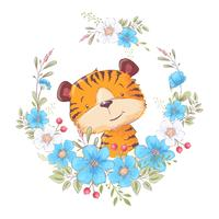 Postcard poster cute little tiger in a wreath of flowers. Hand drawing. Vector