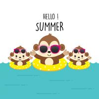 Hello summer cute monkey cartoon. vector