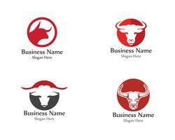 Bull head horn red logo animal vector