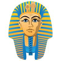 Egyptisk Golden Pharaoh Burial Mask, Fet Färger, Isolerad Vektor Illustration