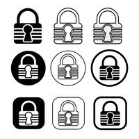 Set of simple sign Lock icon