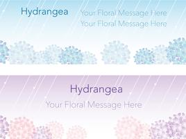 Set of two seamless frames/backgrounds with hydrangeas.